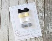 Set of 4 Felt Hair Bows - SMALL size - cute neutral set - black, ivory, white, charcoal grey -  felt bow hair clip set -  felt hair clippies