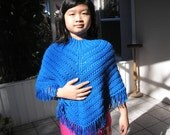 Knitted Poncho, Junior Girl - Royal Blue
