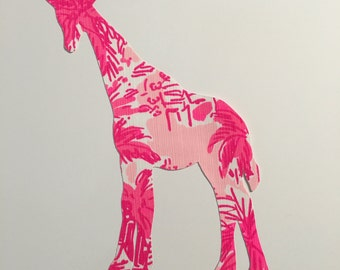 New Made To Order Giraffe Pillow made with Lilly Pulitzer Rule Breakers fabric