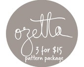 3 Pattern Package Discount / CHOOSE ANY 3 Patterns
