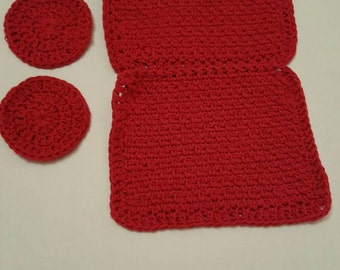 Handmade Crocheted Burgundy Washcloths and Face Scrubbies
