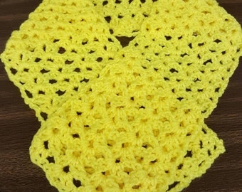 Handmade Crocheted Yellow Scarf/Scarflett