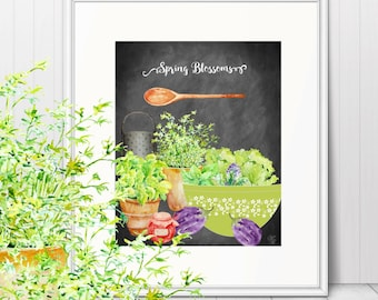 Pyrex Inspired Spring Blossoms Print on Chalkboard