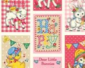 FABRIC DEAR LITTLE World Bambino Lavender Hot Pink Blocks  1/2 Yard