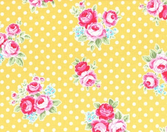FABRIC FLOWER and SUGAR Sweet Carnival by Lecien Large Roses on Golden Yellow with Polka Dots