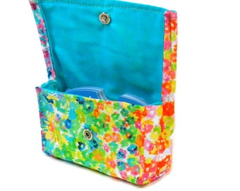 Credit Card Wallet, Grocery Card Carrier, Gift Card Holder Watercolor Floral