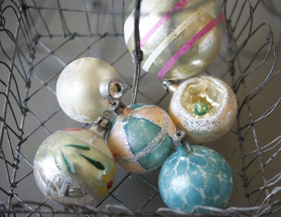 Vintage Glass Ornaments Christmas Tree Decorations Pastels