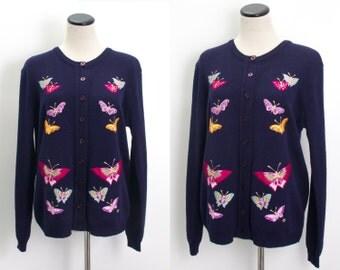 VTG 70's Pretty Pink Butterflies Cardigan (Medium / Large) Dark Navy Knit Button Up Sweater Embroidered Butterfly