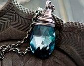 Crystal Necklace, Swarovski Crystal, Crystal Jewelry, Aqua Crystal, Sterling Silver, Prism, PoleStar, Midnight, Indigo, Crystal Pendant