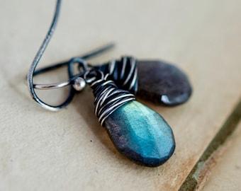 Labradorite Earrings, Drop Earrings, Wire Wrapped, Sterling Silver, Thunder, Storm, Blue, Dangle Earrings, PoleStar, Antiqued