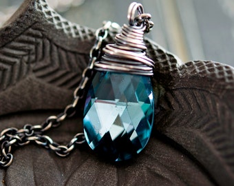 Crystal Necklace, Swarovski Crystal, Crystal Jewelry, Aqua Crystal, Sterling Silver, Prism, PoleStar, Midnight, Indigo, Crystal Pendant