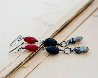 Modern Earrings, Lucite Earrings, Labradorite Earrings, Sterling Silver, Silver Earrings, Red, Black, Dangle Earrings, Drop Earrings, Blue