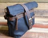 waxed canvas tote, messenger bag, canvas tote bag, tote bag, zipper tote,  free shipping, inblue, crossbody purse, Waxed canvas bag