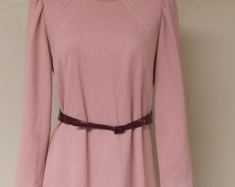 Vintage dusty rose pink R & K Petite new old stock dress flared small 6/8