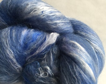2 Batts of 70 Corriedale 15 tussah silk 15 mohair 3.71oz of shades of blue.
