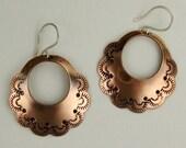 Large Copper Stamped Hoop Earrings with Sterling