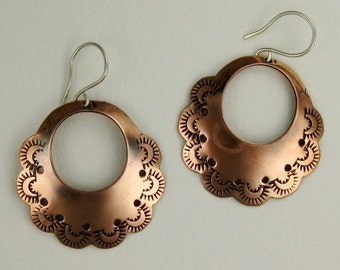 Large Copper Stamped Hoop Earrings with Sterling