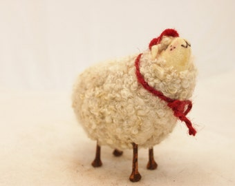 Sheep, Little White Baseball Sheep Prim Needle Felted Sheep, Baseball Sheep # 1493