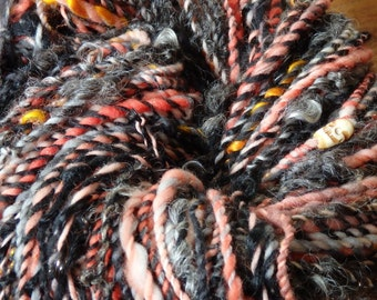 HalloweenTown handspun bulky art yarn with skull beads and locks