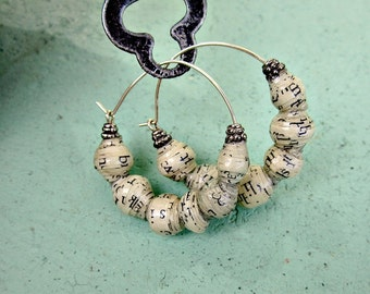 Paper Earrings, Silver Hoop Earrings with Salvaged Paper Beads: Angie