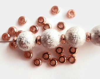 24 (4mm) Spacer Beads, Jewelry making Bead Supply, Brass, Rose Gold Metal Color, Flat Round, Lead, Cadmium & Nickel FREE