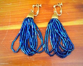 Flapper Gatsby Handbeaded Cobalt Blue Clip On Earrings