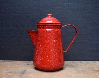 Vintage Enamelware Coffee Pot, Red Graniteware Coffeepot, Enamelware Pitcher, Farmhouse Kitchen