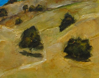 CALIFORNIA ROLLING HILLS Abstract  Landscape -   Abstract Giclee print from my original oil painting -  Art