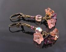 Czech Flower Bead Earrings in Purple and Peach, Sparkling Beaded Earrings, Wire Wrapped Earrings, Czech Glass Earrings, Flower Earrings