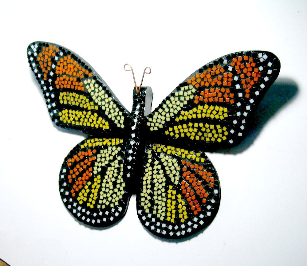 mosaic butterfly mixed media wall decor red orange mosaic butterfly art mosaic wall: mosaic wall decor