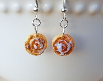 Cinnamon Roll Earrings - Food Jewelry - Honey Bun