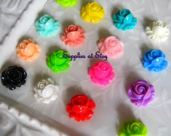 BIG sALE  100pcs assorted colors Rose cabochon flat back 15mm- diy Flower Post Earrings-cabochon flowers for hair clips,bobbi pins-diy Rings