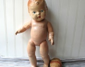 Vintage composition baby doll shabby jointed doll creepy scary unmarked