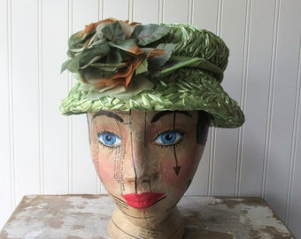 Vintage green straw floral hat raffia cloche vintage millinery flowers shabby Romantic decor