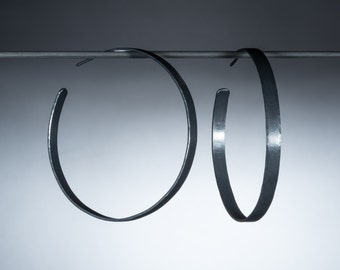 Extra large oxidized sterling silver hoop earrings/ Very big, wide hammered hoops/ Modern minimalist jewelry gift for her/ EHWOX-55mm