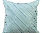 Light Sea Blue Pillow Cases 16x16 Couch Pillows Pleated Suede Pillow Cover - Contemporary Light Sea Blue
