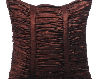 Decorative Throw Pillow Covers Accent Pillow Couch Sofa Bed Pillow 16x16 Brown Velvet Pillow Cover Choco Brown Beauty Ruched Pillow