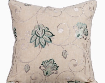 Teal Blue Couch Cushion Covers 16 x 16 Pillow Covers Linen Embroidered Decorative Pillows - Teal Bloomers