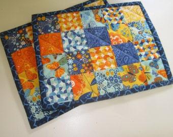 Handmade Mug Rugs/Mini Quilt/Bright Floral/Moda Fabricss