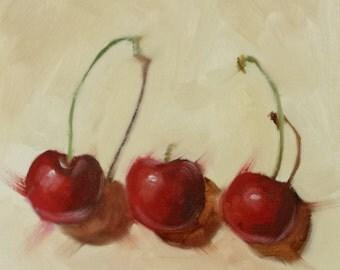 "Small Original Oil Painting, Red Cherries, 6 x 6"", Unframed, Wall Art, Kitchen Art"