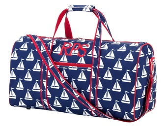 Sali Away Duffel Bag-Boats Monogrammed Duffel-Personalized Luggage-Carry on-Travel Bag