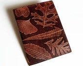 Leather Notebook Cover with Leaf Design - Fits 5x8 Inch Notepad
