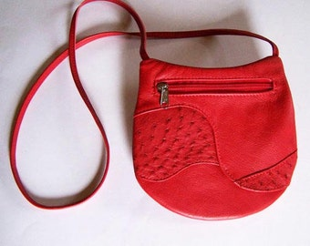 Red Leather Purse with Ostrich Leather Inlays - Crossbody Style Festival Bag - Medium Round - Red Leather Handbag