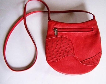 Red Leather Purse with Ostrich Leather Inlays - Crossbody Style - Medium Round - Bright Red Leather Handbag
