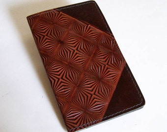 Leather Checkbook Cover with Op-Art Prism Pattern