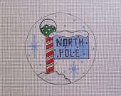 North Pole Sign w/Candy Cane Stripe Handpainted Needlepoint Canvas Christmas Ornament