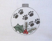 Dog Cat Paw Print w/Holly and Pine Ornament Handpainted Needlepoint Canvas