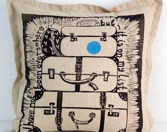 decorative pillow, travellers gift, suitcase, travel, traveller, explorer, home interior, modern interior, beige, chocolate brown, blue, dot