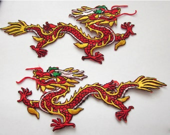 2 Pieces of Large Embroidered  Red and Gold Dragon Iron On Patches Free Shipping