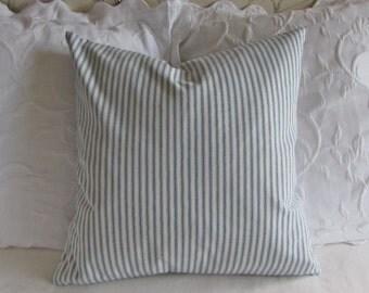 FRENCH TICKING pillow cover denim blue white 16x16 18x18 20x20 22x22 24x24 26x26